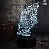 Dtcrzj Rrの思想家3D Ledナイトライト7色寝室寝室のテーブルランプUsb家の装飾クリスマスギフト溶岩
