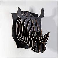 彫刻工芸品の装飾木製動物の壁の装飾サイ吊り壁バーホームリビングルームペンダント(色:E)