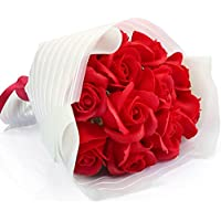 Yobansa 造花 フレグランス ソープフラワー プレゼント 花束 石鹸 薔薇 枯れない 花 バラ ブーケ プレゼント 結婚祝い 誕生日 母の日 父の日 定年祝い 還暦祝い 新築祝い 送別会 メッセージカード付き (赤いバラの花束)