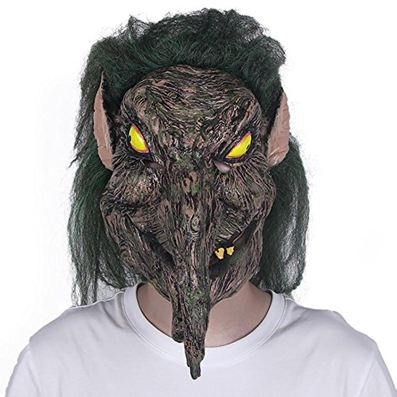 汚い正規化の間でハロウィンホラーマスクしかめっ面大人の装飾ラテックスヘッドギア男性緑髪魔女怖いパーティーマスク