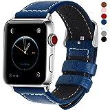 全7色 Apple Watch バンド ベルト, Fullmosa Apple Watch Series 1 2 3 バンド 本革レザー ベルト交換用ラグ付き アップルウォッチバンド ダークブルー 42mm