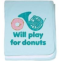 CafePress – Will Play Horn for Donuts – スーパーソフトベビー毛布、新生児おくるみ ブルー 055692634125CD2