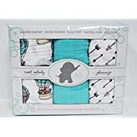 Baby Swaddle Blanket in Arrows, Animals, & Solid Turquoise { Away We Go } by Johanna Jo