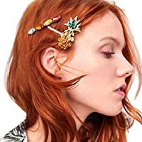 Reiko Pineapple Crystal Colorful 3 Pcs Bobby Pins Fashion Chic Hair Clip Barrette Snap On Slide Clips Headwear for Women Girl