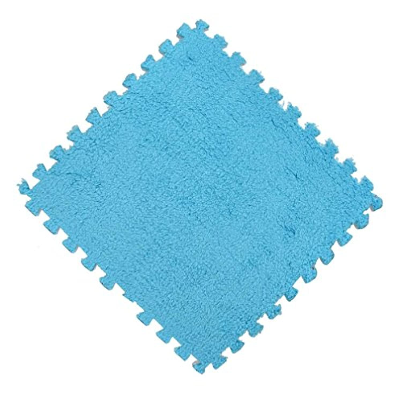 oldeagle KidsカーペットFoamパズルマットEva ShaggyベルベットEco床25 x 25 cm 25*25cm ブルー