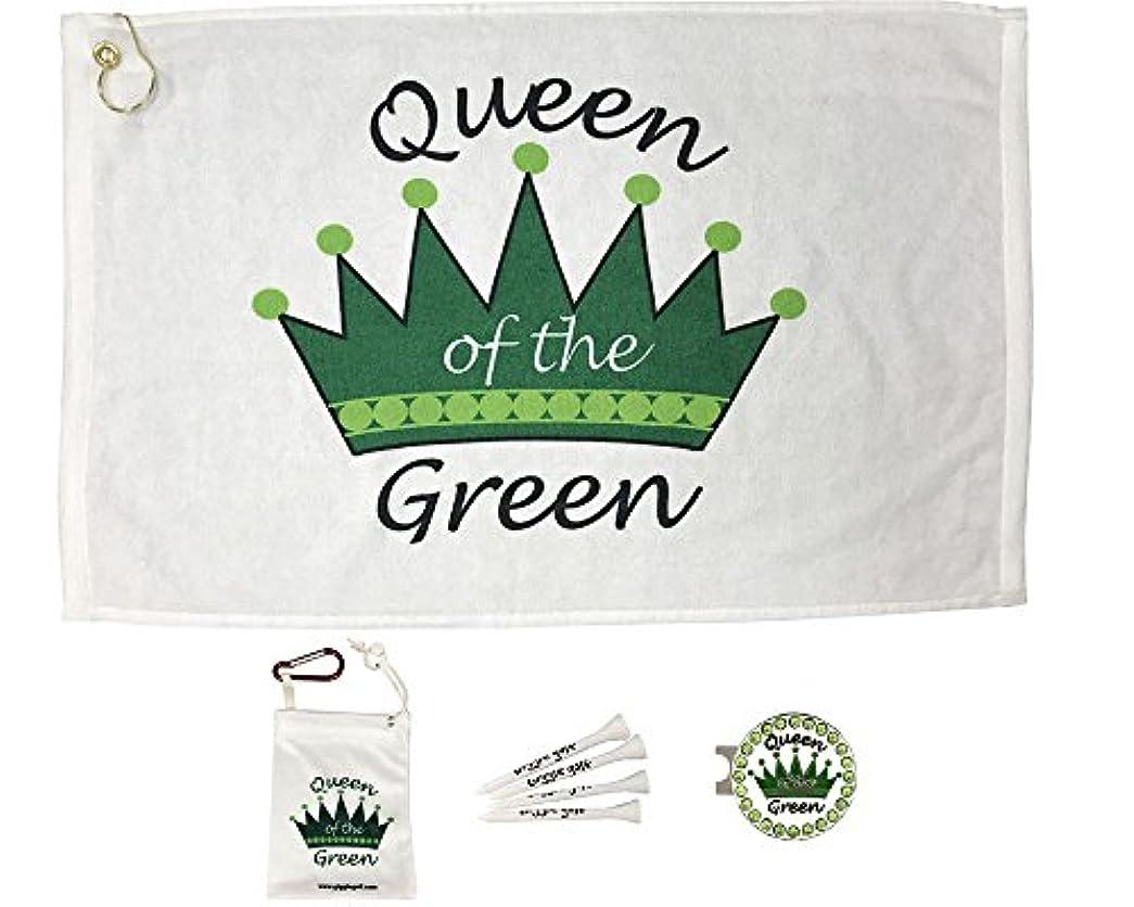 協力的慈悲深い常習的GiggleゴルフPar 3 – Queen of theグリーンタオル、ティーバッグ、帽子を持つBlingボールマーカークリップ – 完璧なゴルフギフトの女性