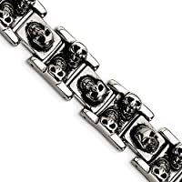 Beautiful Stainless Steel Skull 8.25in Bracelet comes with a Free Jewelry Gift