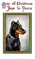 アンティーククリスマスホリーBorder ~ Doberman Pinscher Puppy Dog ~ Holly ~ 6パック新しいマットヴィンテージ画像Large空白ノートカード封筒付き