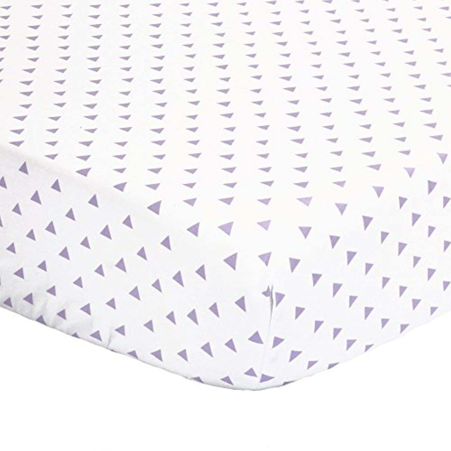 Purple Triangle Print 100% Cotton Sateen Fitted Crib Sheet by The Peanut Shell by The Peanut Shell