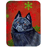 Carolines Treasures LH9339LCB Schipperke Red And Green Snowflakes Holiday Christmas Glass Cutting Board - Large