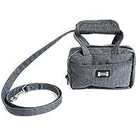 リードハンドバッグ付き犬リーシュペット屋外散歩用ペット用品収納バッグ機能性ファッションおしゃれ(黒)