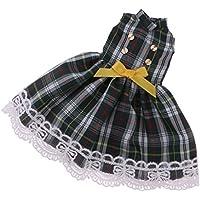 Lovoski チェック柄 ワンピース ちょう結び フロックスカート 12インチブライスドール人形用服 レトロ グリーン