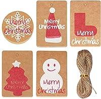 SOOKOO 100個クラフトペーパークリスマスギフトタグwith 20メートルTwine文字列for Christmas PresentラップクッキーベーカリーキャンディビスケットRoastingとラベルパッケージ名前カード、5スタイル、20個の各スタイル