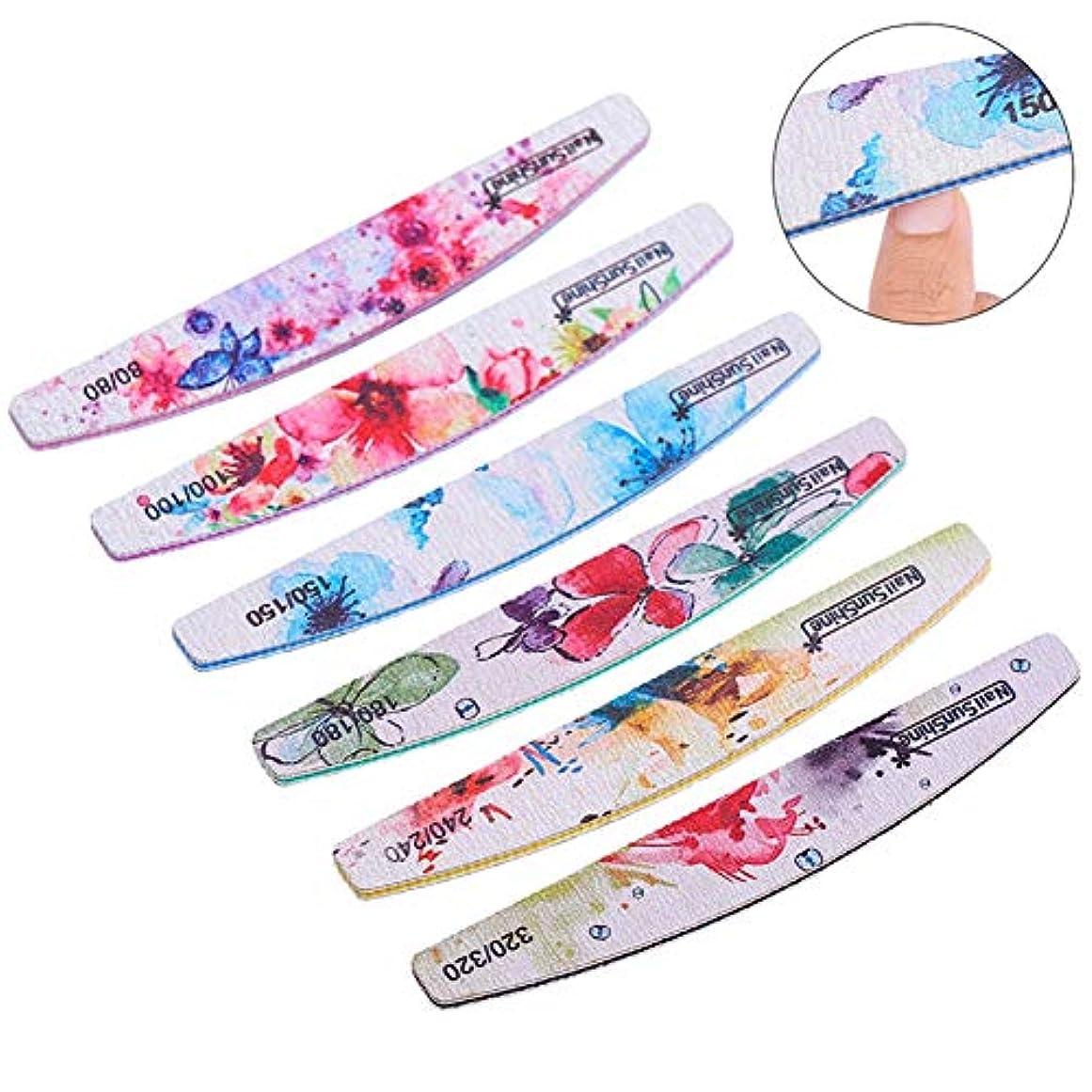 KISSION ネイルアート 花柄 爪磨き 両面研磨ネイルツール フラワーネイル ネイルダブルこて 研磨ストリップ6個 両面ネイルポリッシュストリップ
