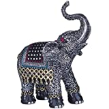George S. Chen Imports SS-G-88051 Black Thai Elephant with Trunk Raised Collectible Figurine Statue