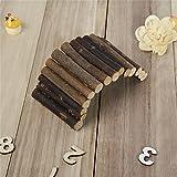 ハムスター用 木製 可愛い 階段 ペット用品 おもちゃ 歯ぎしり はがみ 遊具 モモンガ 小動物 S/Mサイズ選択可能 (S)