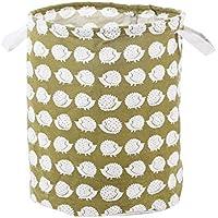 uxcell 収納バスケットセット ビン ケース ホルダー オーガナイザー コットンリネン 折り畳み式 家の装飾 服 玩具 35 x 40cm ヘッジホッグのパターン