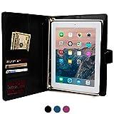 Cooper Cases (TM) FolderTab Apple iPad 2/3/4 メモ帳エグゼクティブ ポートフォリオケース(ブラック)(上質な合成皮革、洗練されたビジネスデザイン、取り外し可能なプラスチック製タブレットホルスターシェ...