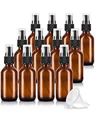 2 oz Amber Glass Boston Round Treatment Pump Bottle (12 pack) + Funnel and Labels for essential oils, aromatherapy...