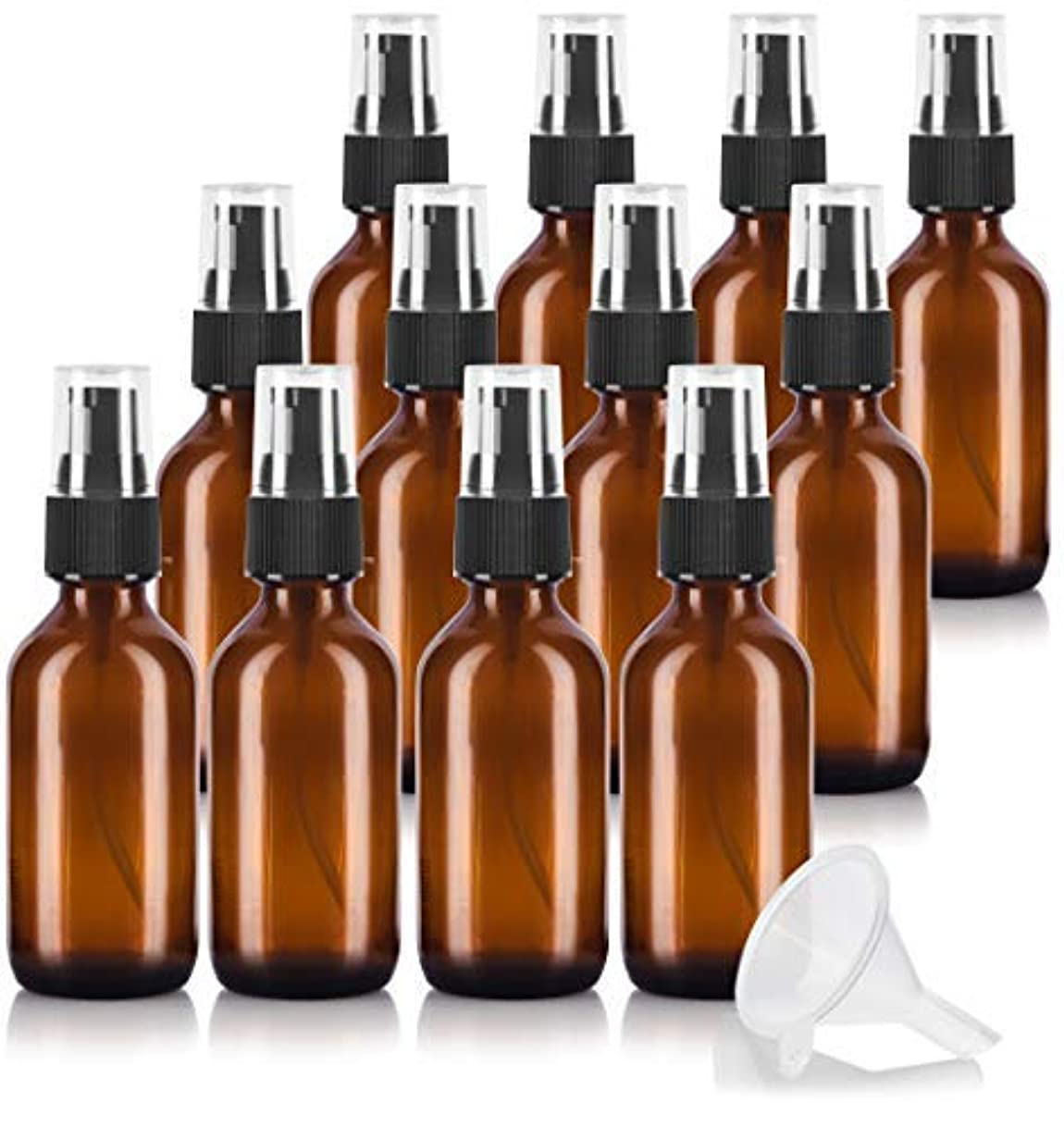へこみ工場バランスのとれた2 oz Amber Glass Boston Round Treatment Pump Bottle (12 pack) + Funnel and Labels for essential oils, aromatherapy...