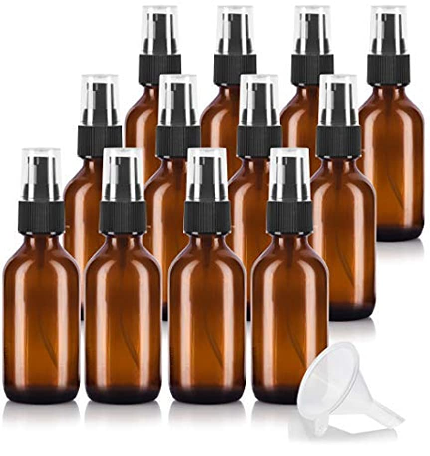 伴う哀引っ張る2 oz Amber Glass Boston Round Treatment Pump Bottle (12 pack) + Funnel and Labels for essential oils, aromatherapy...