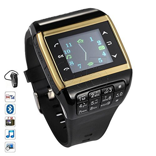 SunKinFon Hours Phone Unlocked Q5 GSM Bluetooth Smart Watch Mobile Phone Smartwatch Support Touch Screen SIM Card Keyboard MP3 Watch for Samsung Galaxy S7 S7 edge S6 S6 edge S5 S4 (Black with Golden) [並行輸入品]