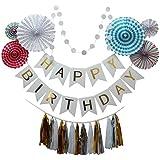 Funpa ガーランド 紙扇子 タッセル 23点セット 誕生日 舞台装飾 デコレーション お祝い 紙 全6タイプ (白)