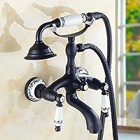 シャワーシンプルなシャワーセットヨーロッパのレトロレトロ水栓熱い、冷たいシャワー銅、黒