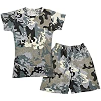 Kids Girls Shorts 100% Cotton Camouflage Print Summer T Shirt & Shorts Set 5-13Y