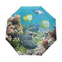 SAMAU 折りたたみ傘 海洋生物 魚柄 自動開閉 軽量 レディース 晴雨兼用 おしゃれ UVカット 丈夫 グラスファイバー 梅雨対策 耐風撥水 収納ポーチ付き