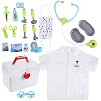 Doctor Kit for Kids - 20-Piece Pretend Play Dentist, Vet Medical Toy Set with Case for Imaginative Play, Halloween Dress Up, School Play for Boys and Girls