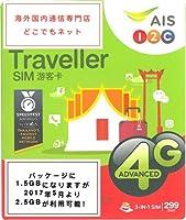 タイ 旅行必備 4G データ通信定額 プリペイド SIMカード AIS 1-2 Call Traveller sim 2.5GB/7日間 無料通話付き