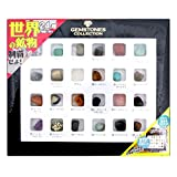石標本セット 世界の石コレクション(24種類) 鉱物マップポスター、スタンド付き