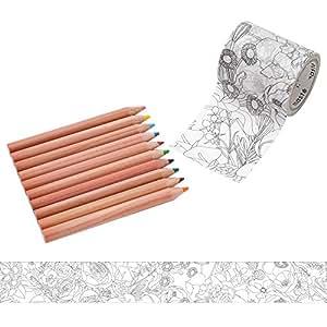 マークス ぬり絵ができるマスキングテープ 色鉛筆付セット 「マステ」 フラワー れも MST-ZC03-B