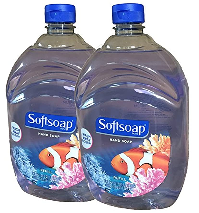 フラフープ満足させる一目Softsoap Liquid Hand Soap, Aquarium Series, 64-Ounce Refill Bottle (Pack of 2) by Softsoap