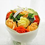 BIO ミディローズブーケ ローズ9輪 定番商品 クリアバック・ギフトボックス お祝い 記念日 お見舞い バレンタインデー ホワイトデー 母の日 (オレンジ) バイオテクノロジーズ