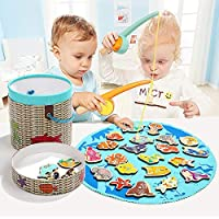 Aitey Magnetic Fishing Game Toddler Toys Gift Learning Education Game for Boys Girls 2 Player Fishing Poles Set 26pcs Wooden Ocean Animal with Alphabet and Fabric Pool [並行輸入品]