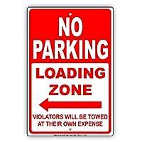 なまけ者雑貨屋 No Parking Loading Zone Left Arrow Violators Will Be Towed at Their Own Expense 金属スズヴィンテージ安全標識警告サインディスプレイボードスズサインポスター看板