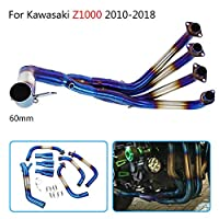 FidgetGear Kawasaki Z1000 2010-2018用60mmオートバイフルエキゾーストシステムフロントパイプリンク