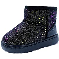 SOFMUO Boys Girls Plush Hiking Snow Boots Sparkly Waterproof Booties Warm Winter Shoes (Toddler/Little Kid)