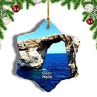 Weekinoマルタの紺Windowの窓遺跡ゴゾクリスマスオーナメントクリスマスツリーペンダントデコレーション旅行お土産コレクション陶器両面デザイン3インチ
