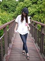 ふんわりシャツ【イチバンニンキ M】コットン100%ホワイト 白ブラウス 半袖 クアトロガッツ