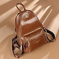 CXQ ファッションパーソナリティトレンドレザーバックパックブラウン柔らかい革小さなバックパックレディース多機能バックパックトラベルバックパック