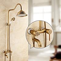 浴室のシャワーセット 完全な銅のバスルームホットとコールドレトロな蛇口アメリカンスタイルのノズル模造古代シャワーセット入浴装置 (設計 : B)