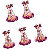 【ノーブランド品】誕生日 パーティー キャップ 子供 大人 コーン ちょう結びの帽子 少年少女 写真の小道具 5個 5色 - ピンク