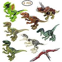 lazy====u 恐竜玩具 ABS恐竜 組み立てブロック プレイセット ミニチュア アクションフィギュア おもちゃ 8個