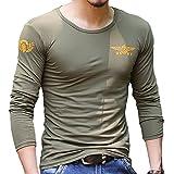 (ガン フリーク) GUN FREAK ミリタリー 長袖Tシャツ ロンT USNV プリント サバゲー メンズ トップス ( オリーブドラブ , M )