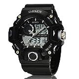 選べる 6 色 OHSEN デジタル アナログ 表示 多機能 腕時計 LED ライト 防水 ストップウォッチ アラーム スポーツ アウトドア カジュアル メンズ レディース ウォッチ 腕 時計 【 BOX 時計 拭き付 】 (ホワイト)