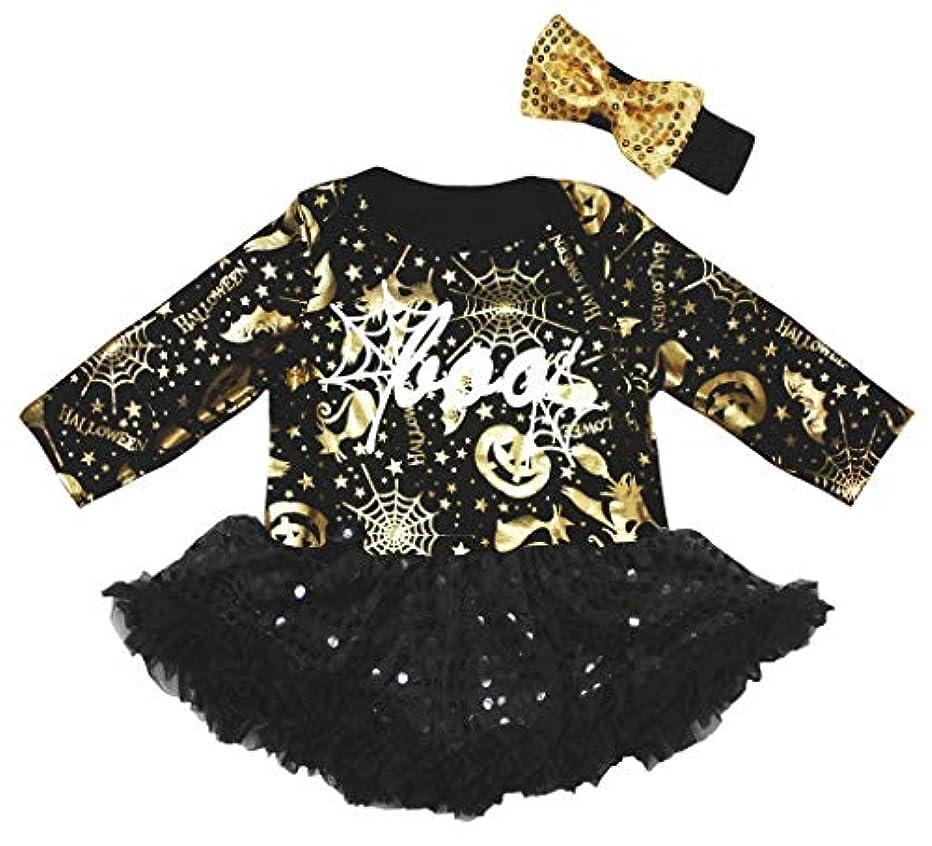 消費つづり凝縮する[キッズコーナー] ハロウィン Boo ブラック ゴールド パンプキン 子供ボディスーツ、長袖 子供のチュチュ、ベビー服、女の子のワンピースドレス Nb-18m (ブラック, Medium) [並行輸入品]