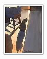 Nabe's 影 - ハワイの黒い猫 ('ele 'ele Popoki) - オリジナルハワイ水彩画から によって作成された ペギー チュン - アートポスター - 41cm x 51cm